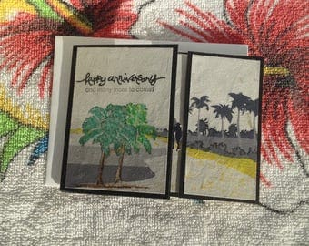 Beach Greeting Card, Palm Trees, Tri-fold Card, Caribbean, sand, Happy Anniversary, Dawns BlanchCards, Palm Trees