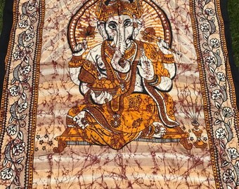 Twin Size Ganesha Bohemian Brown Orange Tan and Black Colored Tapestry Earth Boho Hippie Wall Hanging