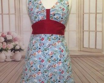 Women's apron, Christmas apron, snowman apron, kitchen apron, flirty apron, cute apron, winter apron, AmorysAprons