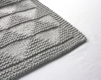 Light Gray Baby Blanket - Triangle Design