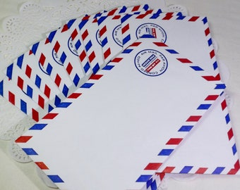 Airmail Envelopes, Vintage Inspired, Junk Journal Supplies, Smash Book, Travel Journal Supplies, 10 Airmail Envelopes