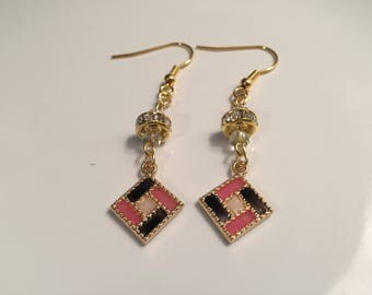 Pink & Black Square Earrings
