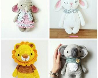 English only!!! Kombi !! (4) Anleitungen Elefant Ava, Hase Mia, Löwe Leo, Koala Pepe