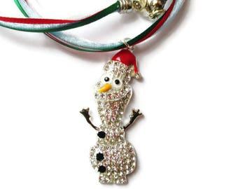 Olaf Inspired Holiday Necklace/Rhinestone Encrusted Olaf Pendant/Christmas Necklace/Frozen/Nylon Cord and Nylon Ribbon Necklace/Santa Hat