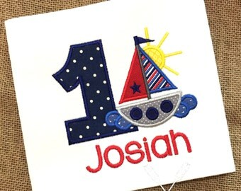 Sailboat Applique Shirt / Boat Birthday Shirt / Summer Shirt / Ship / Personalized Birthday Shirt / Ocean Birthday / Toddler Birthday