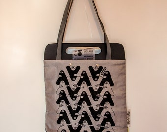 Tote Bag Black & grey White