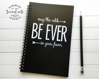 Writing journal, spiral notebook, bullet journal, black white, blank lined or grid paper, Hunger Games - May the odds be ever in your favor
