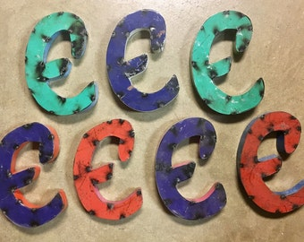 """Recycled Metal Letter E, 8"""" Industrial Rustic Script Letter E Sign, painted Metal"""