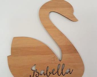 Personalised Name Swan Wooden Wall-Door Hanging-lasercut-bamboo-custom name-wall art-baby gift-kids gift-decor
