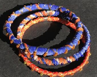 School Spirit, bright orange, royal blue, frabric bangle