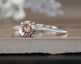 Bridal Ring Set with 9mm Round Morganite and Diamonds in 14k White Gold, Morganite Engagement Ring, Diamond Half Eternity Band, Promise Ring