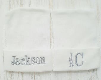 Newborn Boy Personalized Hospital Hats- boy hospital hat, baby boy hat, grey and white baby,  baby boy beanie, boy newborn hat, newborn boy