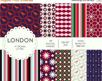 80% Until New Year - London digital papers city - purple red bordeaux stars birds piccadilly square - background, scrapbook paper, scrapbook