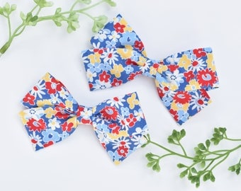 Colorful Floral SET OF 2, Fabric Bow Clips