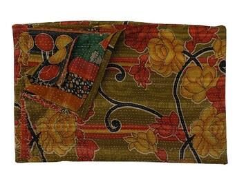 Reversible Indian Cotton Bedspread Vintage Kantha Quilt