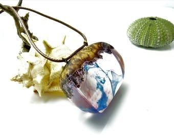 wood resin necklace, statement pendant, ooak pendant, unique pendant, blue resin pendant, wood resin jewelry, boho chic pendant, juniper
