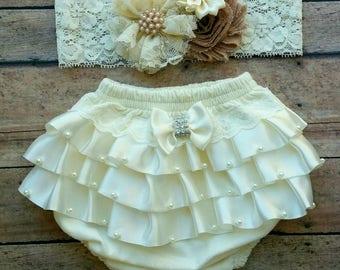 Ivory vintage newborn bloomer - baby bloomer - newborn ruffles bloomer - vintage newborn headband - ivory bloomer - baby shower gift set