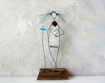 Vintage bride gift, Vintage decor, Rustic wedding gift, Wire sculpture, Driftwood sculpture, Anniversary gift, Centerpieces, Custom gift