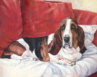 Basset Hound 'Stanley's Seat' Dog Art Blank Greeting Card From Original Oil Painting By Budgerigardener