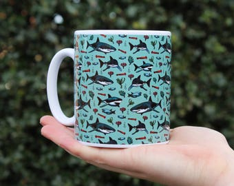 Shark Mug, Ceramic, Illustrated