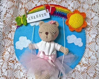 Teddy bear Newborn baby girl nursery decoration - Fiocco nascita o decorazione cameretta