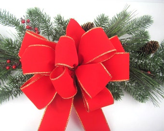 Christmas Wreath Bow - Red Velvet Gold Edging Indoor / Outdoor