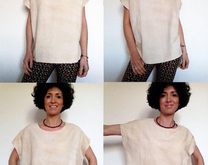 Antique cotton blouse-striped blouse-round neckline blouse-handmade blouse-cotton Blouse-Soft Line shirt-Short Sleeve shirt