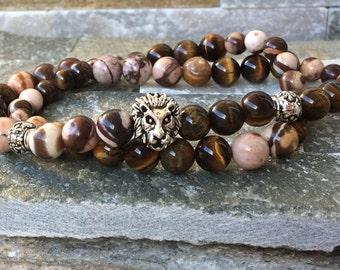 Lion bracelet Jasper Tiger eye men wrist mala