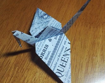 20 Origami Crane Vintage Newspaper Print Wedding Favors