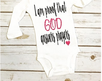 christian baby shirt/ god baby/ miracle baby/ baby outfit/ crunchy mom