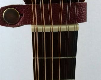 Handmade Electric and Acoustic Guitar Strap in Red Leather with Brass Button Detail