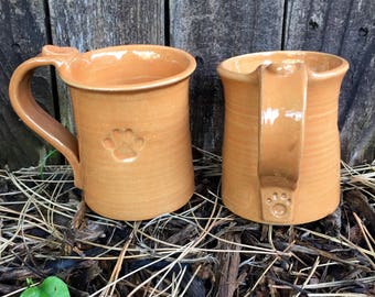 10 - 12 0z Paw Print Mug - made to order - stoneware, handmade pottery