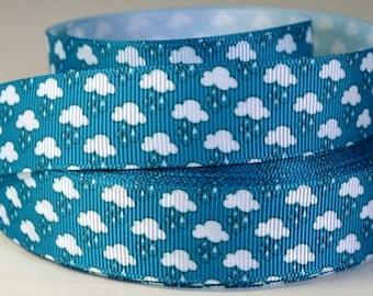 """7/8"""" Rain Clouds - Printed Grosgrain Ribbon"""