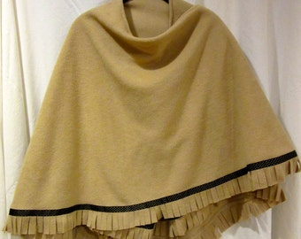 Fleece Shawl/Cape/Wrap with Ribbon