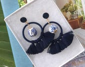 """The """"Rio"""": Ultra-Light Blue and White """"Ginger Jar"""" inspired Beaded Tassel Earring"""
