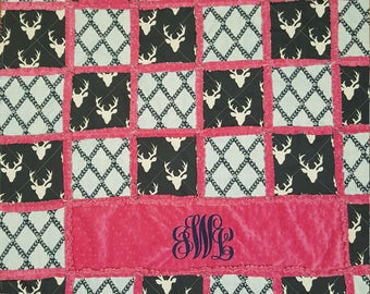 Stag/Minky Rag Quilt/blanket/throw