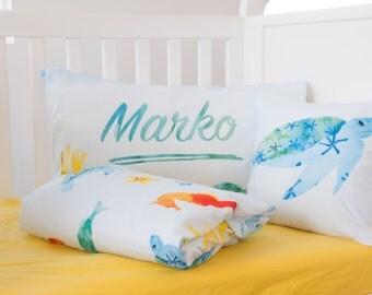 Personalized Sea Comforter Set - Baby Boy Gift - Crib Bedding - Boys Comforter - Toddler Comforter - Twin Comforter - underwater bedding