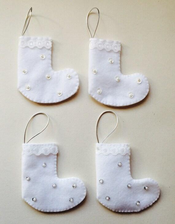 Mini Felt Christmas Stockings - White Stocking
