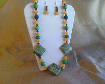 123 Colorful Modern Necklace of Honey Colored and Red Malaysian Jade and Yellow Turquoise and Green Magnesite Turquoise Beaded Necklace