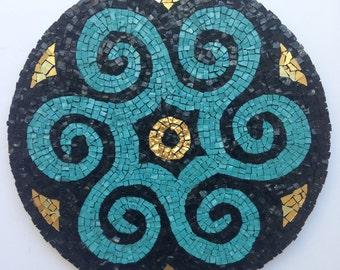 Blue Swirl Mandala Mosaic, Mosaic Art, Wall hanging, Smalti mosaic, Handmade item, Home Decoration, Gift Idea