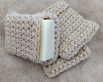 Crochet Soap Saver - Tan