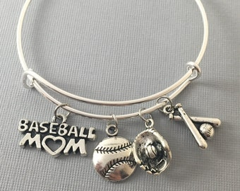 Baseball Mom - Baseball - Baseball Bracelet - Coach Gift - Baseball Jewelry - Baseball Mom Bangle Bracelet -  Baseball Charms - Sports Mom