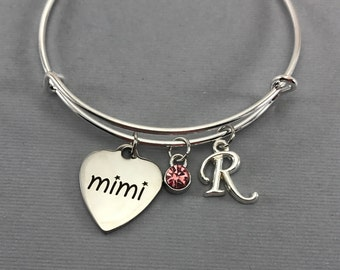 Mimi - Mimi Gifts - Gift for Grandma- Grandmother Jewelry - Charm Bracelet - Personalized Jewelry- Valentine Gift - Bangle Bracelet
