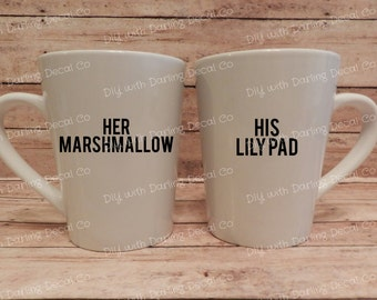 Her Marshmallow His Lily Pad Adhesive Decals Couples Mug Wine Tumbler DIY Partners Wedding Gift Coffee Marriage How I Met Your Mother HIMYM