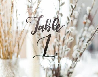 Handlettered Custom Acrylic Table Number, Wedding and Special Event Calligraphy