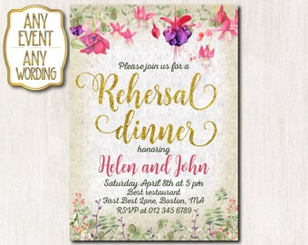 Rehersal dinner invitation, Rehersal dinner party, Summer flowers invitation, Summer invitation, Gold glitter, Garden party - 1611