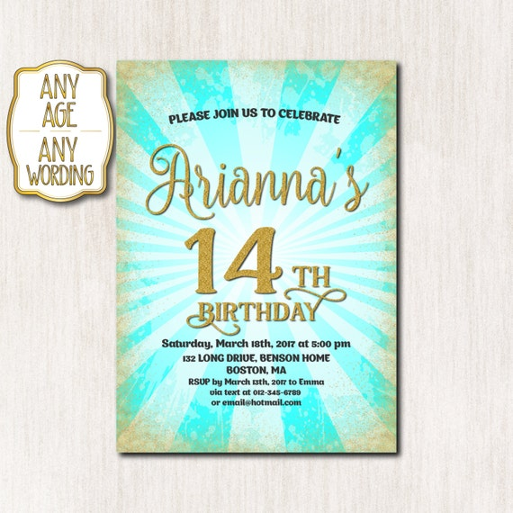 14th Birthday Invitation Fourteenth Birthday Gold Glitter