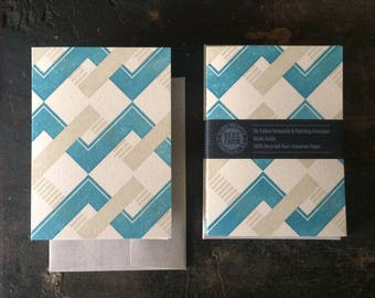 Six Chevron Letterpress Notecards - Blue & Tan