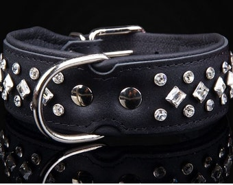 Dog collar - leather - genuine leather necklace - rhinestone dog