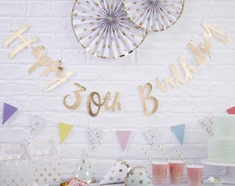 Gold Happy 30th Birthday Bunting | 30th Birthday Party Decorations